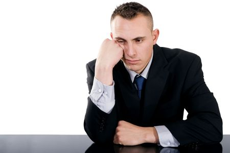 bored face: Stock image of bored businessman over white background Stock Photo