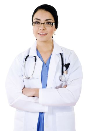 Stock image of female health care professional over white background Zdjęcie Seryjne