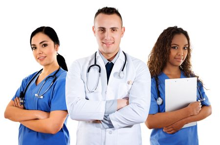 Stock image of medical team over white background photo