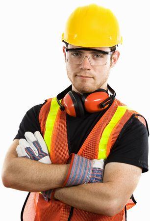 完全防護服を着ている男性の建設労働者のストック画像
