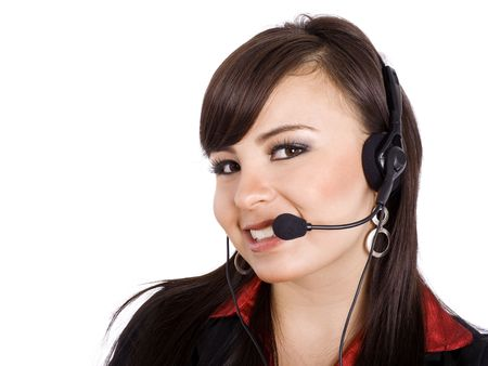 Stock image of female call center worker, isolated on white. photo