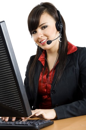 Stock image of female call center worker photo