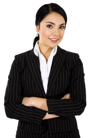 Stock image of businesswoman standing with arms crossed and smiling over white background