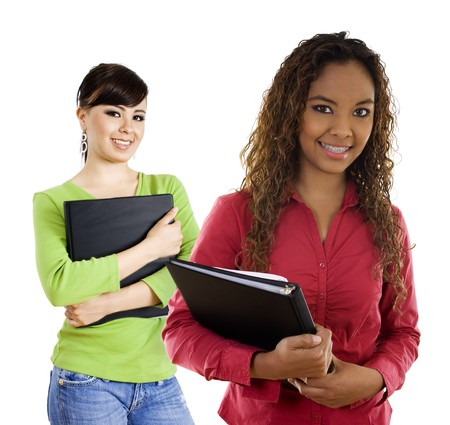 Stock image of two female students over white background photo