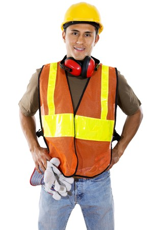 construction project: Stock image of hispanic construction worker over white background