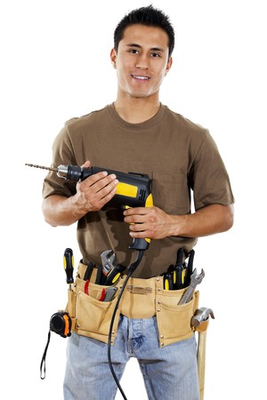 repairmen: Stock image of handyman over white background Stock Photo