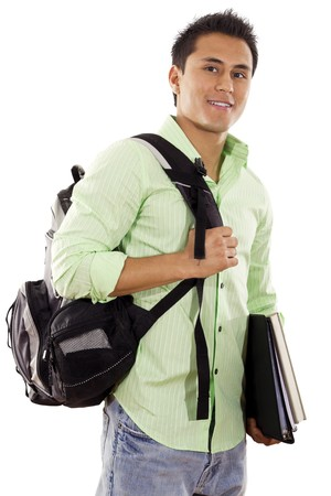 college student: Stock image of university student over white background