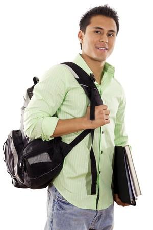 hispanic male: Stock image of university student over white background