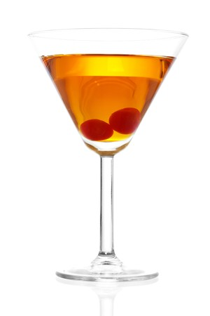 Stock image of Manhattan cocktail on martini glass with Maraschino Cherries over white background. 스톡 콘텐츠