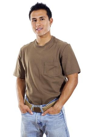 Stock Bild der schatten schattenwurf Mann Stand mit überreicht weißem Hintergrund in Taschen Lizenzfreie Bilder
