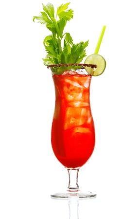 Stock image of Bloody Mary over white background. Find more cocktail and prepared drinks images on my portfolio.  Stock Photo