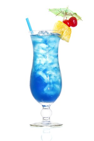 Stock image of Blue Hawaiian cocktail over white background. Find more cocktail and prepared drinks images on my portfolio.  Stock Photo