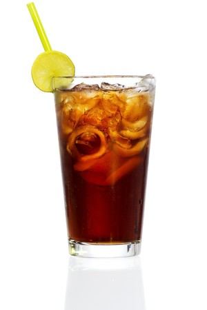 Stock image of Cuba Libre Cocktail over white background. Find more cocktail and prepared drinks images on my portfolio.