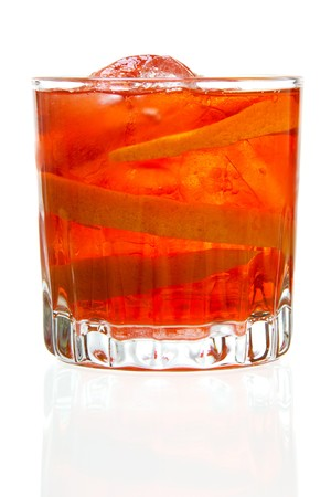 Stock image of Negroni cocktail over white background. Find more cocktail and prepared drinks images on my portfolio.