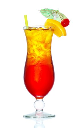 Stock image of Tequila Sunrise cocktail over white background. Find more cocktail and prepared drinks images on my portfolio.