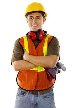白い背景の上の男性の建設労働者のストック画像