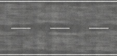 Tileable image of strip of road, can be tiled to make a very long road and also from its side to create a four lane highway. Very detailed pavement.