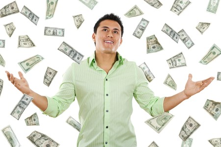 Stock image of money falling around young man Stock Photo - 7860663