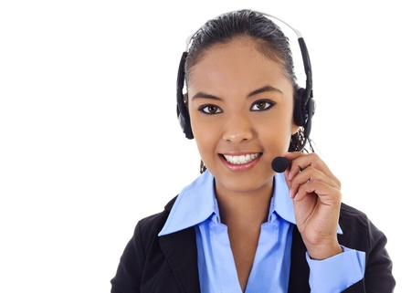 contact center: Stock image of female call center operator over white background.