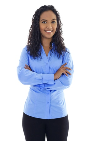 african business: Stock image of confident woman standing over white background