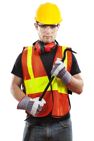 heavy industry: Stock image of male construction worker over white background