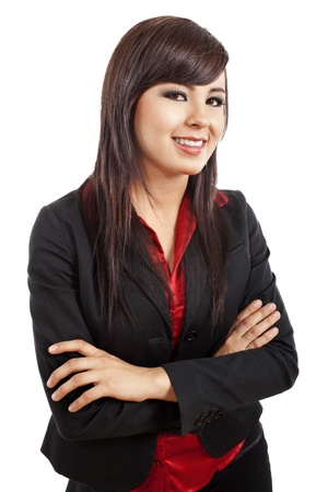 Stock image of confident young businesswoman smiling over white background photo