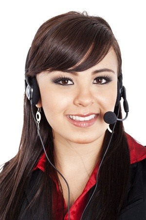 Stock image of female call center operator over white background. photo