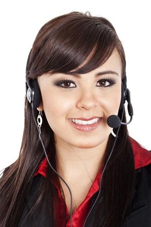 Stock image of female call center operator over white background. photo
