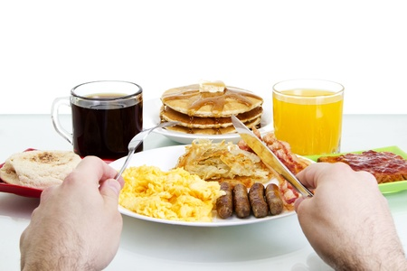 scrambled: Stock image Point of view of man about to eat a hearty breakfast Stock Photo