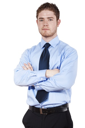 Stock image of confident businessman standing over white background Zdjęcie Seryjne