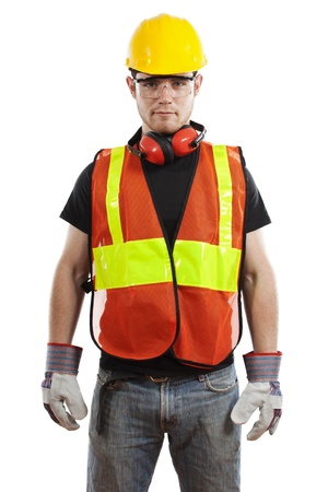 Stock image of construction worker over white background Zdjęcie Seryjne