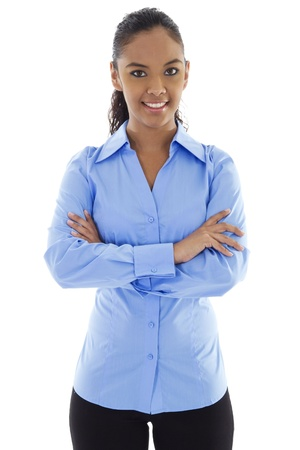 Stock image of confident businesswoman smiling over white background Zdjęcie Seryjne