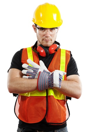 protective wear: Stock image of construction worker over white background Stock Photo