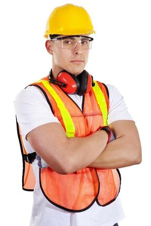 男性の建設労働者の白い背景で隔離のストック画像 写真素材