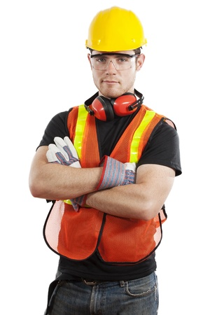 hard: Stock image of male construction worker isolated on white background
