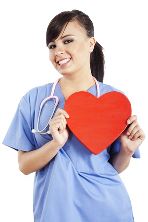 Stock image of female healthcare worker holding heart shape isolated on white background photo