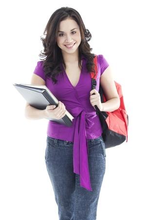 onderwijs: Stock beeld van jonge vrouwelijke student geïsoleerd op witte achtergrond Stockfoto
