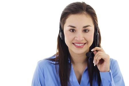 Stock image of female call center representative, isolated on white photo