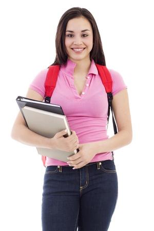 Stock Bild jungen weiblichen Studenten isolated on white background Standard-Bild - 8945937