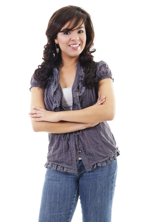 Stock image of young hispanic woman casually standing, isolated on white background photo