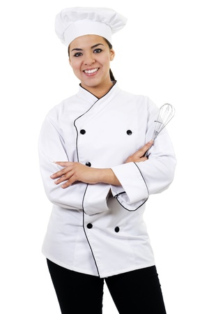 Stock image of female chef, isolated on white Stockfoto