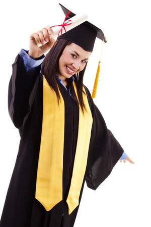 Stock image of happy female graduate, isolated on white