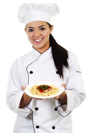 chefs: Stock image of female chef, isolated on white background
