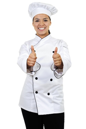 Stock image of female chef giving thumbs up, isolated on white background