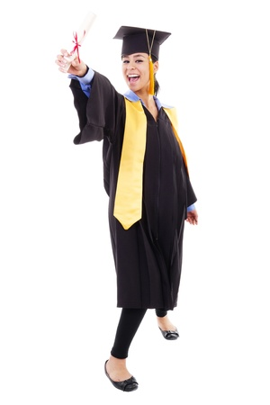 Stock image of happy female graduate, isolated on white background photo
