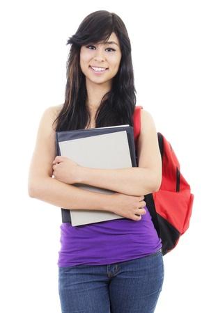 Stock Bild des weiblichen Studenten, isolated on white background Lizenzfreie Bilder