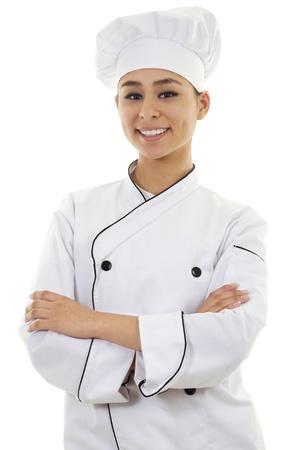 Stock image of female chef isolated on white background photo