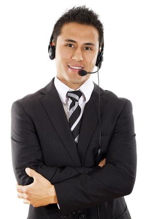 白い背景上に分離されて男性コール センターのオペレーター