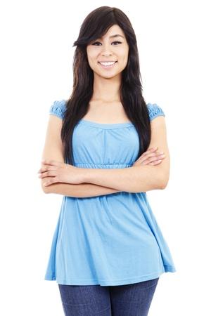 femme confiante occasionnelle permanent isol� sur fond blanc Banque d'images