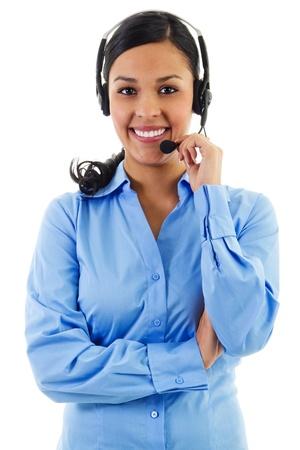 Stock beeld van vrouwelijke call center operator op wit wordt geïsoleerd Stockfoto